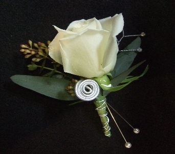 Silver Lining Boutonniere  in Stephens City VA, The Flower Center