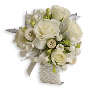 All Buttoned Up Corsage in South Yarmouth MA, Lily's Flowers & Gifts