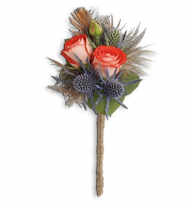 Boho Dreams Boutonniere in Ionia MI, Sid's Flower Shop