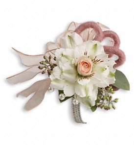 Call Me Darling Corsage in Hendersonville NC, Forget-Me-Not Florist