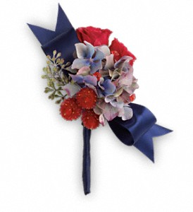 Camera Ready Boutonniere in Hendersonville NC, Forget-Me-Not Florist