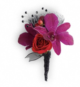 Celebrity Style Boutonniere in Riverside CA, The Flower Shop