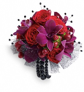 Celebrity Style Corsage in Vermilion AB, Fantasy Flowers