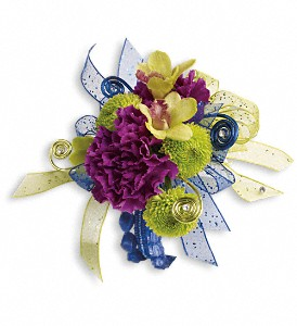 Evening Electric Corsage in Golden CO, Fleur-De-Lis Flowers