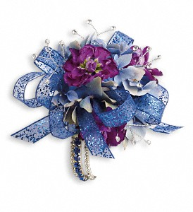 Feel The Beat Corsage in Golden CO, Fleur-De-Lis Flowers