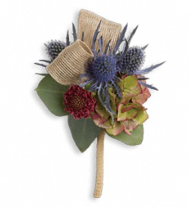 Midnight Wanderings Boutonniere in Kinston NC, The Flower Basket