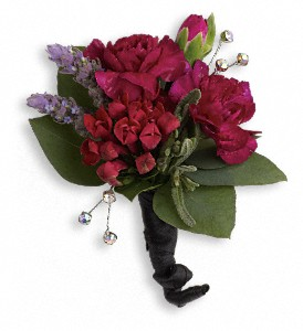 Red Carpet Romance Boutonniere in Masontown PA, Masontown Floral Basket