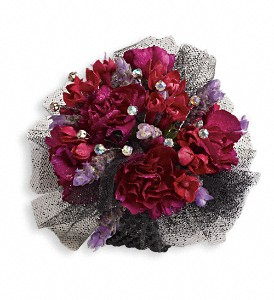 Red Carpet Romance Corsage in Golden CO, Fleur-De-Lis Flowers
