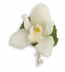 Shimmering Pearls Boutonniere in Oklahoma City OK, Capitol Hill Florist and Gifts