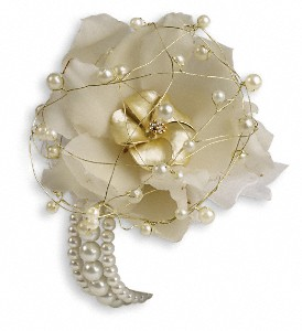 Shimmering Pearls Corsage in Golden CO, Fleur-De-Lis Flowers