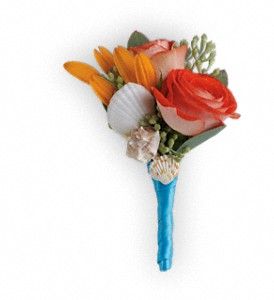 Sunset Magic Boutonniere in Hendersonville NC, Forget-Me-Not Florist
