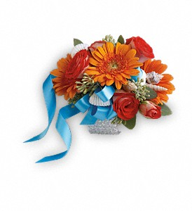 Sunset Magic Corsage in Golden CO, Fleur-De-Lis Flowers