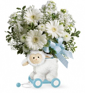 Teleflora's Sweet Little Lamb - Baby Blue in Oakland MD, Green Acres Flower Basket