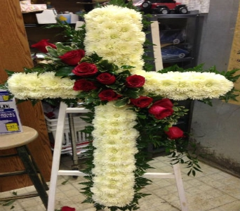 Solid Cross With Red Roses in Frankfort IL, The Flower Cottage