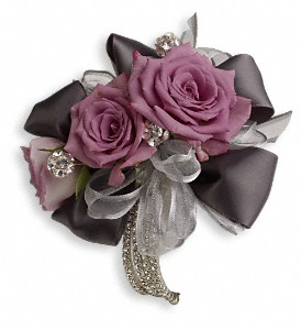 Roses And Ribbons Corsage in Islandia NY, Gina's Enchanted Flower Shoppe