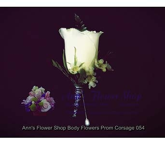 Stately White Rose Boutonniere in Auburn ME, Ann's Flower Shop
