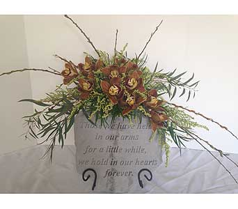 Orchid Flower Spray Arrangement With Memory Stone in Crafton PA, Sisters Floral Designs