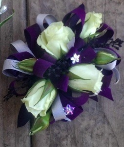 White Rose Corsage with Purple Trim in Clearwater FL, Hassell Florist