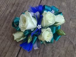 White Rose Corsage with Teal Trim in Clearwater FL, Hassell Florist