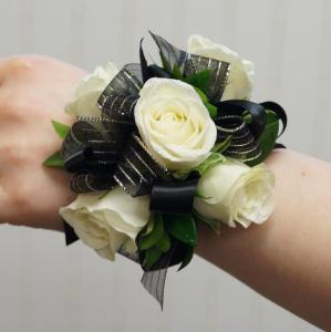 White Rose Corsage with Black Trim in Clearwater FL, Hassell Florist