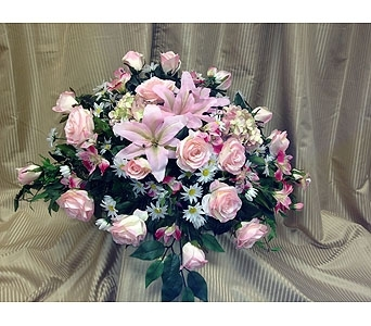 Silk Casket Spray-Soft Pinks in Timmins ON, Timmins Flower Shop Inc.