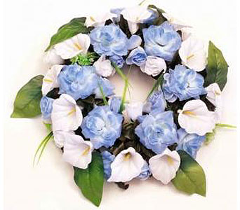 Silk Wreath - Light Blue & White in Timmins ON, Timmins Flower Shop Inc.