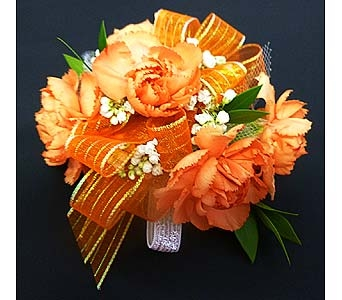 Orange Mini Carnation Corsage in Mesa AZ, Watson Flower Shops