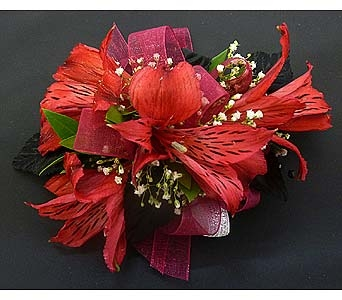 Red Alstromeria Bloom Corsage in Mesa AZ, Watson Flower Shops
