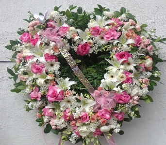 Pink and White Open Heart  in Brooklyn NY, David Shannon Florist & Nursery