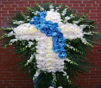 Blue and White Cross in Brooklyn NY, David Shannon Florist & Nursery