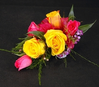 Multi Colour Spray Rose Corsage in Aurora ON, Caruso & Company