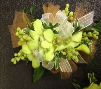 Prom Corsage- Green Orchids with Green Berries in Newton NC, Newton Florist