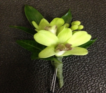 Prom Bout- Green Dendrobium Orchids with Berries in Newton NC, Newton Florist
