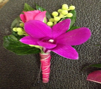 Prom Bout- Purple Orchid & Hot Pink Rose in Newton NC, Newton Florist
