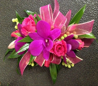 Prom Corsage-Purple Orchid with Hot Pink Rose in Newton NC, Newton Florist