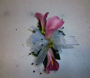 Prom Corsage- Pink Calla Lily(3Blooms) in Newton NC, Newton Florist