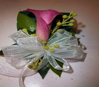 Prom Corsage- Single Pink Calla Lily in Newton NC, Newton Florist