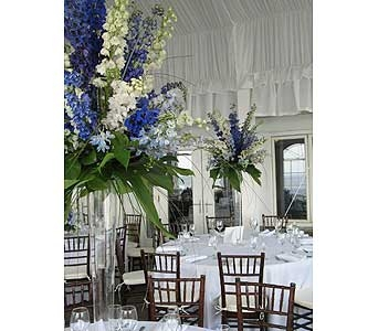 Tall Blue Centerpieces in Middletown DE, Forget Me Not Florist & Flower Preservation
