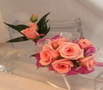 Coral Rose Corsage and Boutonni�re in Greenville SC, Expressions Unlimited