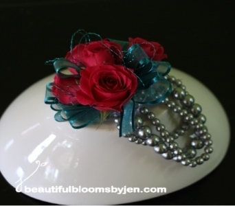 Pink, Silver and Teal Corsage in Sylvania OH, Beautiful Blooms by Jen