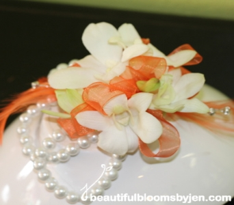 White Dendrobium Orchid Wrist Corsage in Sylvania OH, Beautiful Blooms by Jen
