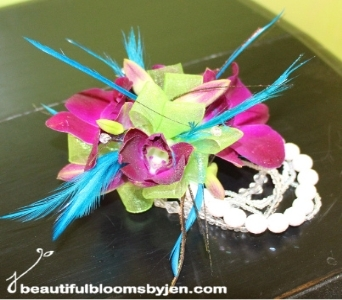 Purple, Lime Green and Teal Wrist Corsage in Sylvania OH, Beautiful Blooms by Jen