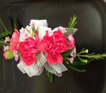 Prom Corsage- Hot Pink Miniature Carnations-Deluxe in Newton NC, Newton Florist