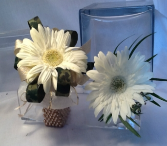 Gerbera Daisy Corsage and Boutonni�re Set in Greenville SC, Expressions Unlimited