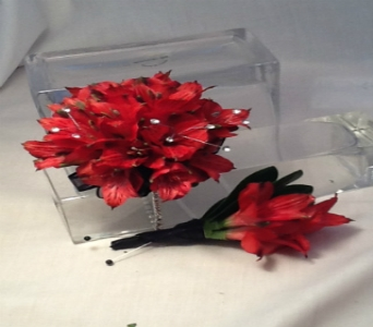 Red Alstromeria Corsage and Boutonni�re Set in Greenville SC, Expressions Unlimited