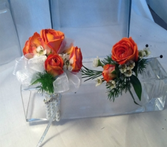 Coral Rose Corsage and Boutonni�re Set in Greenville SC, Expressions Unlimited