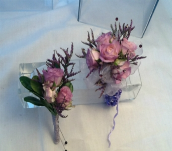 Lavender Spray Rose Corsage and Boutonni�re Set in Greenville SC, Expressions Unlimited
