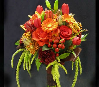 Orange and Green Bride Bouquet in Kennewick WA, Heritage Home Accents & Floral