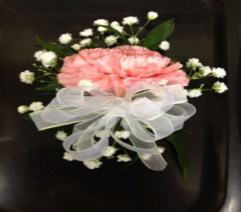 Prom Corsage- Single Carnation with Baby's Breath in Newton NC, Newton Florist