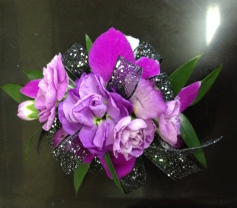 Prom Corsage-Mini Carnations with Mixed Blossoms in Newton NC, Newton Florist